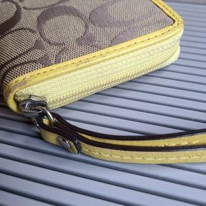 Coach Bags - 《COACH》Yellow Logo Wristlet Wallet